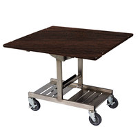 Geneva 74410 Mobile Rectangular Top Tri-Fold Room Service Table with Stainless Steel Frame and Mahogany Finish - 36 inch x 43 inch x 31 inch
