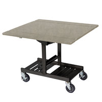 Geneva 74410 Mobile Rectangular Top Tri-Fold Room Service Table with Beige Suede Finish - 36 inch x 43 inch x 31 inch