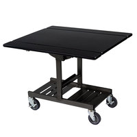 Geneva 74410 Mobile Rectangular Top Tri-Fold Room Service Table with Black Finish - 36 inch x 43 inch x 31 inch