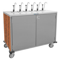 Lakeside 70201 Stainless Steel E-Z Serve 8-Pump Condiment Dispensing Cart with Victorian Cherry Finish for 3 Gallon Condiment Pouches - 27 1/2 inch x 50 1/4 inch x 48 1/2 inch