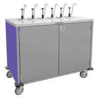 Lakeside 70211 Stainless Steel E-Z Serve 6-Pump Condiment Dispensing Cart with Purple Finish for 3 Gallon Condiment Pouches - 27 1/2 inch x 50 1/4 inch x 48 1/2 inch