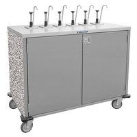 Lakeside 70221 Stainless Steel E-Z Serve 4-Pump Condiment Dispensing Cart with Gray Sand Finish for 3 Gallon Condiment Pouches - 27 1/2 inch x 33 inch x 48 1/2 inch