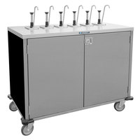 Lakeside 70211 Stainless Steel E-Z Serve 6-Pump Condiment Dispensing Cart with Black Finish for 3 Gallon Condiment Pouches - 27 1/2 inch x 50 1/4 inch x 48 1/2 inch