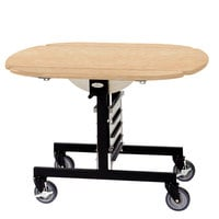 Geneva 74405 Mobile Round Top Tri-Fold Room Service Table with Maple Finish - 36 inch x 43 inch x 31 inch