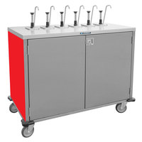 Lakeside 70211 Stainless Steel E-Z Serve 6-Pump Condiment Dispensing Cart with Red Finish for 3 Gallon Condiment Pouches - 27 1/2 inch x 50 1/4 inch x 48 1/2 inch