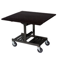 Geneva 74410 Mobile Rectangular Top Tri-Fold Room Service Table with Ebony Wood Finish - 36 inch x 43 inch x 31 inch