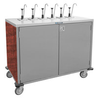 Lakeside 70211 Stainless Steel E-Z Serve 6-Pump Condiment Dispensing Cart with Red Maple Finish for 3 Gallon Condiment Pouches - 27 1/2 inch x 50 1/4 inch x 48 1/2 inch