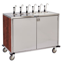 Lakeside 70271 Stainless Steel E-Z Serve 12-Pump Condiment Dispensing Cart with Red Maple Finish for 3 Gallon Condiment Pouches - 27 1/2 inch x 50 1/4 inch x 48 1/2 inch
