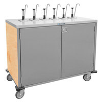 Lakeside 70211 Stainless Steel E-Z Serve 6-Pump Condiment Dispensing Cart with Hard Rock Maple Finish for 3 Gallon Condiment Pouches - 27 1/2 inch x 50 1/4 inch x 48 1/2 inch