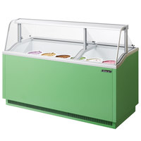 Turbo Air TIDC-70G Green 70 inch Ice Cream Freezer Dipping Cabinet with Low Curved Glass - 16.07 Cu. Ft.