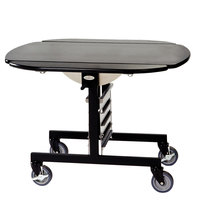 Geneva 74405 Mobile Round Top Tri-Fold Room Service Table with Black Finish - 36 inch x 43 inch x 31 inch