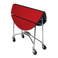 Lakeside 415 Mobile Round Top Fold-Up Room Service Table with Red Finish - 22 1/4 inch x 40 inch x 30 inch