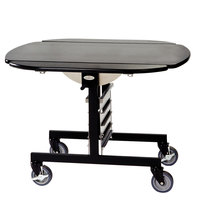 Geneva 74405 Mobile Oval Top Tri-Fold Room Service Table with Black Finish - 36 inch x 43 inch x 31 inch