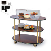 Geneva 36303 3 Oval Shelf Table Side Service Cart with Acrylic Roll Top Dome and Ebony Wood Finish - 23 inch x 44 inch x 44 1/4 inch