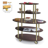 Geneva 37212 5 Oval Shelf Dessert Cart with Amber Maple Finish - 24 inch x 50 inch x 56 inch