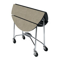 Lakeside 415 Mobile Round Top Fold-Up Room Service Table with Beige Suede Finish - 22 1/4 inch x 40 inch x 30 inch