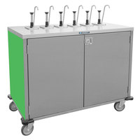 Lakeside 70201 Stainless Steel E-Z Serve 8-Pump Condiment Dispensing Cart with Green Finish for 3 Gallon Condiment Pouches - 27 1/2 inch x 50 1/4 inch x 48 1/2 inch