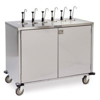 Lakeside 70271 Stainless Steel E-Z Serve 12-Pump Condiment Dispensing Cart for 3 Gallon Condiment Pouches - 27 1/2 inch x 50 1/4 inch x 48 1/2 inch