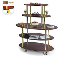 Geneva 37212 5 Oval Shelf Dessert Cart with Victorian Cherry Finish - 24 inch x 50 inch x 56 inch