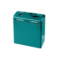 Rubbermaid FGR3418 Recycling Centers Sea Green Fiberglass Large Capacity 2-Section Paper/Trash Recycling Center with Rigid Plastic Liner (2) 23 Gallon (FGFGR3418TPPLSGN)