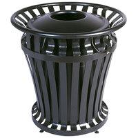 Rubbermaid FG402100 WeatherGard Black Round Steel Waste Receptacle with Brute Rigid Plastic Liner 32 Gallon (FG402100BLA)