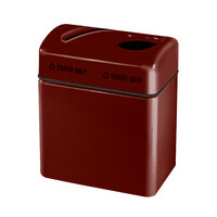 Rubbermaid FGR2416 Recycling Centers Maroon Fiberglass 2-Section Paper/Trash Recycling Center with Rigid Plastic Liner (2) 16 Gallon (FGFGR2416TPPLMN)