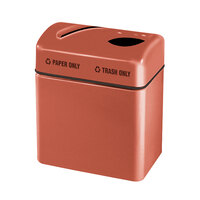 Rubbermaid FGR2416 Recycling Centers Terra Cotta Fiberglass 2-Section Paper/Trash Recycling Center with Rigid Plastic Liner (2) 16 Gallon (FGFGR2416TPPLTRC)