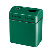 Rubbermaid FGR2416 Recycling Centers Empire Green Fiberglass 2-Section Paper/Trash Recycling Center with Rigid Plastic Liner (2) 16 Gallon (FGFGR2416TPPLEGN)