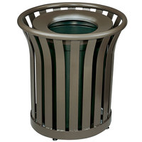 Rubbermaid FGMT32 Americana Series Open-Top Architectural Bronze Round Steel Waste Receptacle with Rigid Plastic Liner 36 Gallon (FGMT32PLABZ)