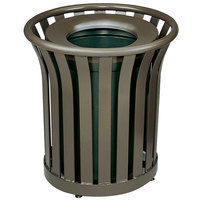 Rubbermaid FGMT22 Americana Series Open-Top Architectural Bronze Round Steel Waste Receptacle with Rigid Plastic Liner 24 Gallon (FGMT22PLABZ)