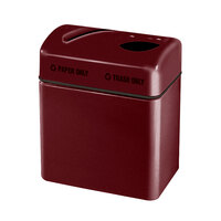 Rubbermaid FGR2416 Recycling Centers Burgundy Wine Fiberglass 2-Section Paper/Trash Recycling Center with Rigid Plastic Liner (2) 16 Gallon (FGFGR2416TPPLBYW)