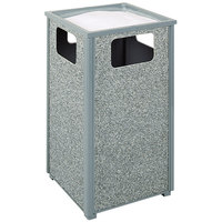 Rubbermaid R18SU Aspen Ash/Trash Gray with Dove Gray Stone Panels Square Steel Waste Receptacle with Rigid Plastic Liner 24 Gallons (FGR18SU2000PL)