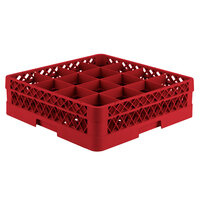 Vollrath TR8A Traex Full-Size Red 16-Compartment 4 13/16 inch Glass Rack with Open Rack Extender On Top