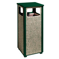 Rubbermaid R12 Aspen Flat-Top Empire Green with Desert Brown Stone Panels Square Steel Waste Receptacle with Rigid Plastic Liner 12 Gallons (FGR12202PL)