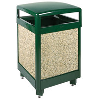 Rubbermaid R48HT Aspen Hinged-Top Empire Green with Desert Brown Stone Panels Square Steel Waste Receptacle with Rigid Plastic Liner 48 Gallon (FGR48HT202PL)