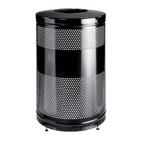 Rubbermaid FGS55ET Classics Black Round Steel Drop Top Waste Receptacle with Levelers and Rigid Plastic Liner 51 Gallon (FGS55ETBKPL)