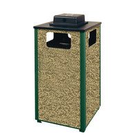 Rubbermaid R18WU Aspen Ash/Trash Empire Green with Desert Brown Stone Panels Square Steel Waste Receptacle with Weather Urn and Rigid Plastic Liner 24 Gallons (FGR18WU202PL)