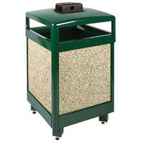 Rubbermaid R48HTWU Aspen Hinged-Top Empire Green with Desert Brown Stone Panels Square Steel Waste Receptacle with Weather Urn and Rigid Plastic Liner 48 Gallon (FGR48HTWU202PL)