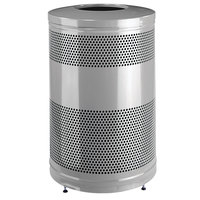 Rubbermaid FGS55ET Classics Silver Metallic Round Steel Drop Top Waste Receptacle with Levelers and Rigid Plastic Liner 51 Gallon (FGS55ETSMPLBK)