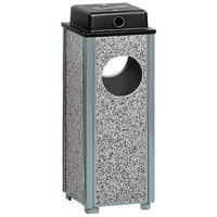 Rubbermaid R41WU Aspen Ash/Trash Gray with Dove Gray Stone Panels Square Steel Waste Receptacle with Weather Shield and Rigid Plastic Liner 2.5 Gallon (FGR41WU2000PL)