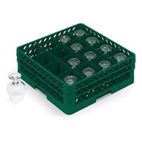 Vollrath TR8A Traex Full-Size Green 16-Compartment 4 13/16 inch Glass Rack with Open Rack Extender On Top
