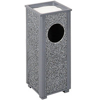 Rubbermaid R41 Aspen Ash/Trash Gray with Dove Gray Stone Panels Square Steel Waste Receptacle with Rigid Plastic Liner 2.5 Gallon (FGR412000PL)
