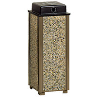 Rubbermaid R40WU Aspen Brown with Desert Brown Stone Panels Square Steel Cigarette Urn with Weather Shield (FGR40WU201)