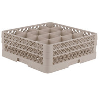 Vollrath TR8DD Traex Full-Size Beige 16-Compartment 6 3/8 inch Glass Rack