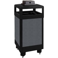 Rubbermaid FGR36HTWU Dimension 500 Series Hinged-Top Black with Anthracite Perforated Steel Panels Square Steel Waste Receptacle with Weather Urn and Rigid Plastic Liner 29 Gallon (FGR36HTWU500PL)