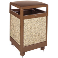 Rubbermaid R38HT Aspen Hinged-Top Brown with Desert Brown Stone Panels Square Steel Waste Receptacle with Rigid Plastic Liner 38 Gallon (FGR38HT201PL)