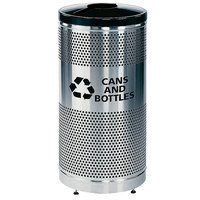 Rubbermaid FGS3SSG Classics Round Steel Can/Bottle Recycling Container with Black Lid and Rigid Plastic Liner 25 Gallon (FGS3SSGBKPL)
