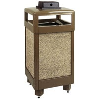 Rubbermaid R36HTWU Aspen Hinged-Top Brown with Desert Brown Stone Panels Square Steel Waste Receptacle with Weather Urn and Rigid Plastic Liner 29 Gallon (FGR36HTWU201PL)