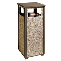 Rubbermaid R12 Aspen Flat-Top Brown with Desert Brown Stone Panels Square Steel Waste Receptacle with Rigid Plastic Liner 12 Gallons (FGR12201PL)