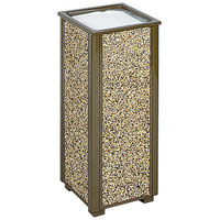 Rubbermaid R40 Aspen Brown with Desert Brown Stone Panels Square Steel Cigarette Urn (FGR40201)